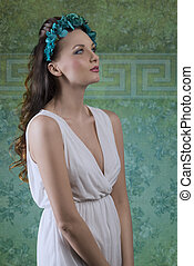 spring girl with white dress - beautiful brunette woman with...
