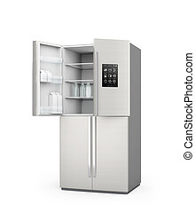 Opened Smart refrigerator with LCD screen.  Concept  of IoT.