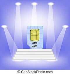 Blue SIM Card on Light Background. SIM Card on the White...