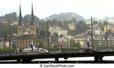 LUCERNE, SWITZERLAND rainy day - LUCERNE, SWITZERLAND - July...