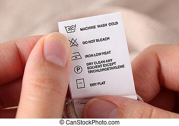 vestiti, etichetta, con, pulizia, istruzioni,