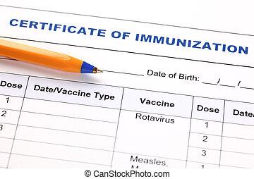 Certificate of immunization and pen.