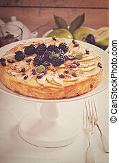 Kugel traditional dish baked pasta pie with apples
