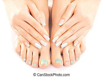 bonito, pés, com, turquesa, pedicure, isolated, ,