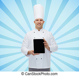 happy male chef cook showing tablet pc - cooking, profession...