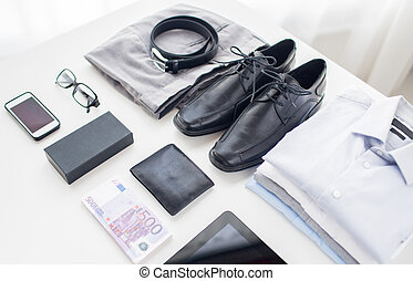 close up of formal clothes and personal stuff - business,...