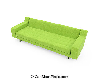Sofa over white - isolated couch over white background