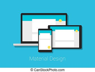 material deign responsive interface layout in laptop tablet...
