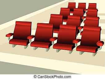 Empty seats. red comfortable cairs in empty room