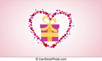 Gift on heart - Gift on pink heart Video animation, HD 1080