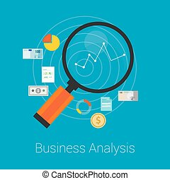 analysis business finance with graphic and magnifier