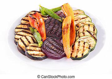 asado parrilla, vegetales,