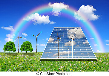 Green energy concept - Solar energy panels and wind turbines...