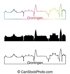 Groningen skyline linear style with rainbow in editable...
