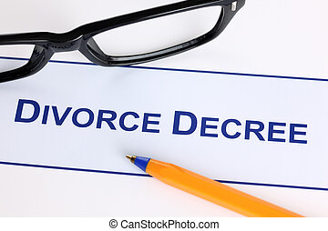 Divorce Decree with black glasses and ballpoint pen
