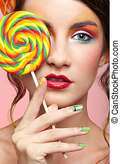beautiful model with lollipop - portrait of beautiful girl...