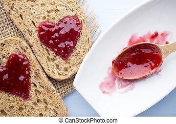 Jam - Grain slice of bread with jam heart shape