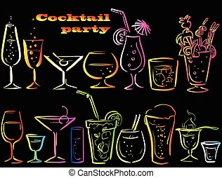 Set of cocktails, hand drawn vector icons