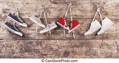 運動, 鞋子, 地板