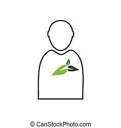 man with plant green vector