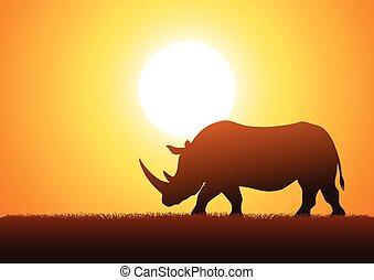 Rhinoceros - Silhouette illustration of a rhinoceros against...