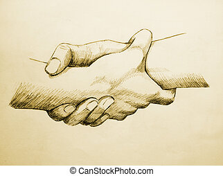 Helping Each Other - Sketch illustration of two hands...