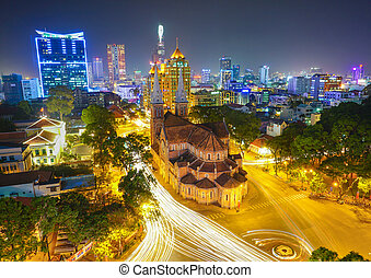 Notre Dame cathedral in Ho Chi Minh City, Vietnam night view