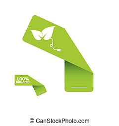 sticker organic green vector