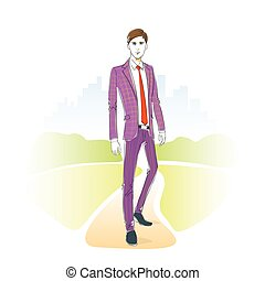 Fashion man park outdoor, male model wear suit vector