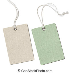 Two blank cloth tag or price label set isolated on white -...