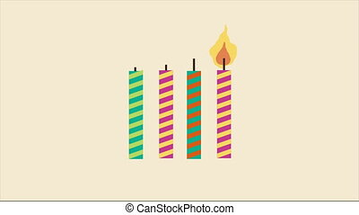 Birthday Video animation - Birthday candle with ribbon,...