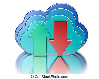 Blue glossy cloud and upload download arrows - Remote...