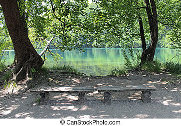 resting place in Plitvice - wooden benches to rest in the...