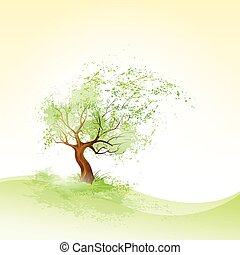 green tree with leaves blowing wind and brown bark vector...