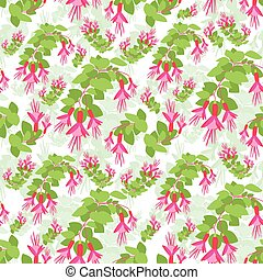 Red Green Flower Seamless Pattern Vector