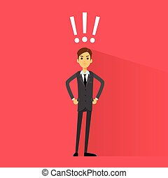 excited business man with exclamation mark vector