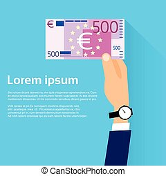 Hand hold 500 Euro Banknote Flat Design with Shadow Vector...