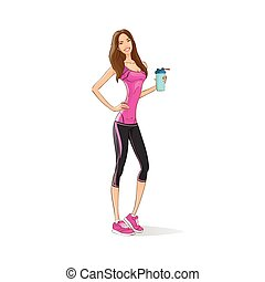 Sport woman hold shaker drink fitness trainer, hot sexy girl...