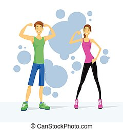 Sport Couple Man and Woman Show Bicep Muscles, Athletic...