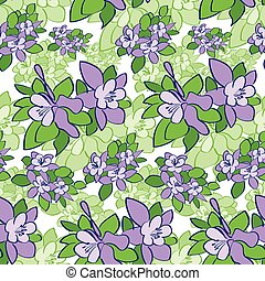 Violet Green Flower Seamless Pattern Vector