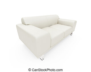 Couch over white - isolated sofa over white background