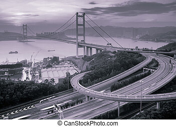 night scenes of Tsing Ma Bridge in Hong Kong