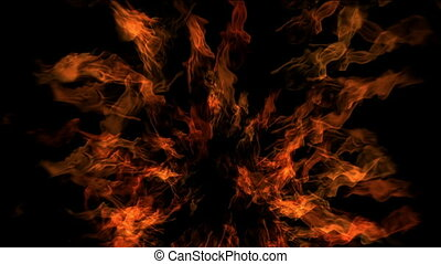 Big fire kaleidoscope on the black background