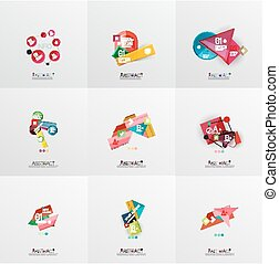 Set of paper graphic layouts. Universal presentation,...