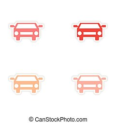 assembly realistic sticker design on paper cars sport