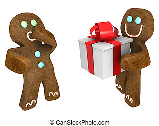 Gingerbread man present - Gingerbread man giving present to...