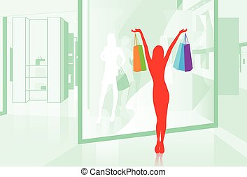 Woman hold Shopping Bags Shop Window Vector Illustration