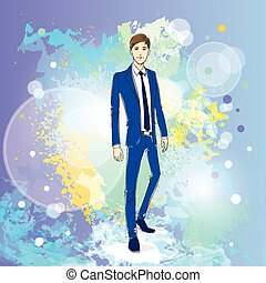 Fashion man over colorful pain splash background, male model wear blue suit