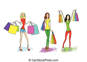 shopping woman with bags set, fashion girl over white...
