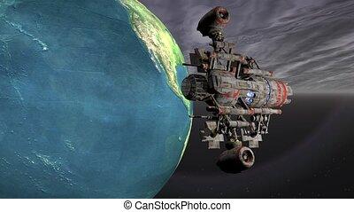 Satellite sputnik orbiting earth in space